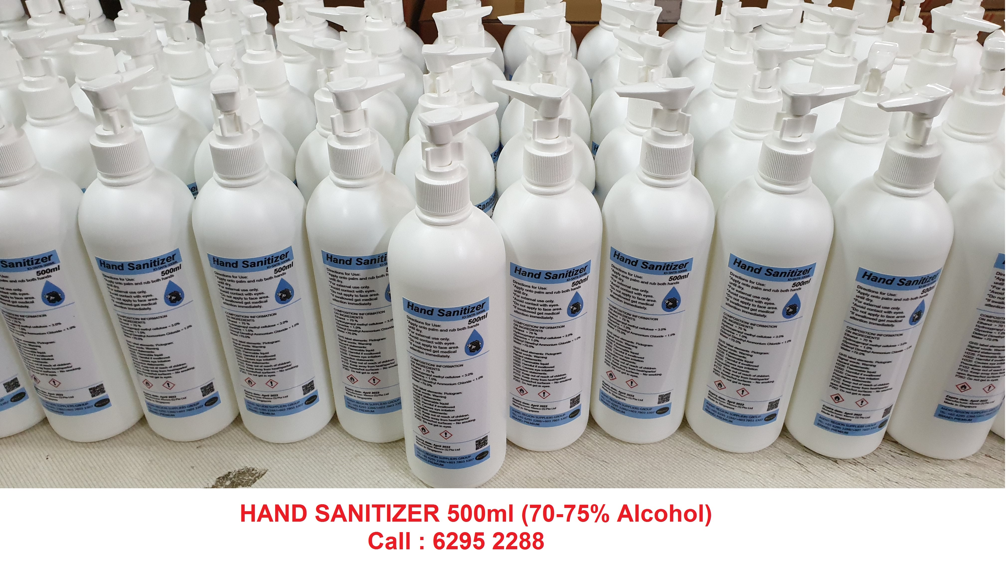 Hand Sanitizer 500ml  - 70-75% Alcohol (50ml, 70ml and  5000ml avaliable)
