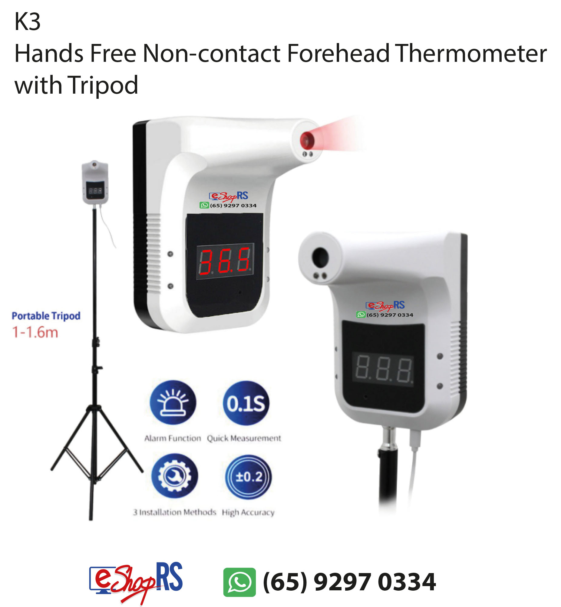K3 Hands Free Non-contact Forehead Thermometer with Tripod